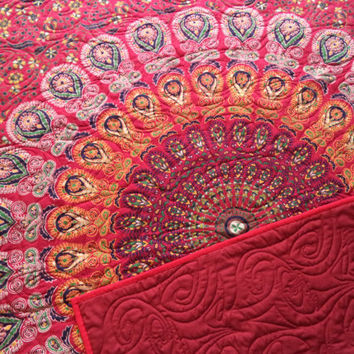 "ON SALE Red mandala peacock tapestry quilt/ Handmade tapestry quilt/ boho chic bohemian gypsy red twin blanket size 51"" x 80 1/2"""