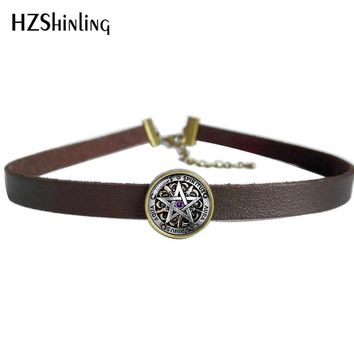 2017 NEW Occult Wiccan Leather Necklace Pentagram Wicca Pendant Glass Jewelry Leather Choker Necklace