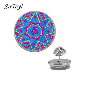 SUTEYI Vintage Shirt Lapel Pins Women Mandala Meditation Brooch Pin Clothes Accessories Glass Cabochon Brooches DIY Jewelry