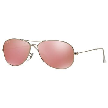 Ray-Ban RB3362 019/Z2 Cockpit Pink Flash Lens Silver Frame Pilot Sunglasses