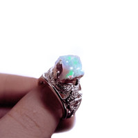 Australian opal ring, Rough opal ring, silver snake ring, large opal ring, gemstone ring, bohemian ring, OOAK, serpent ring, fire opal ring
