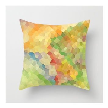 "Pillow Cover, Summer Tumbling Mosaic Abstract, Fine Art Photograph on Square 16x16"" Pillow Cover,  Multi-Color Mosaic Abstract Cover"