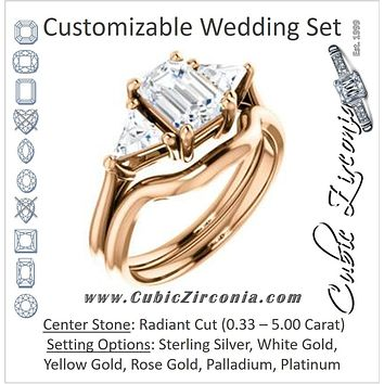 CZ Wedding Set, featuring The Prisma engagement ring (Classic Three-Stone Triangle Accent and Radiant Cut center)