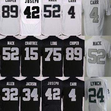 Men's Oakland Jersey #4 Derek Carr #24 Marshawn Lynch jersey Men #89 Amari Cooper 52 Khalil Mack 75 Howie Long Home Raider Jerseys