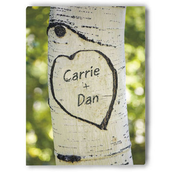 Names Carved in A Tree Photo Canvas Wall Art