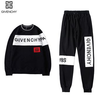 GIVENCHY Top Sweater Sweatshirt Pants Trousers Sweatpants Set Two-Piece Sportswear Black