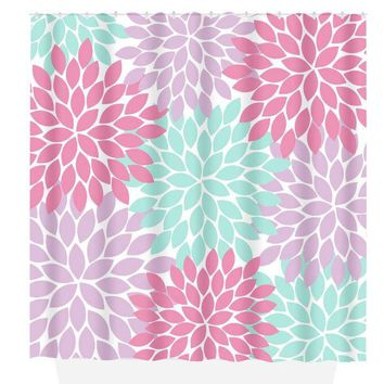 Pink Purple Aqua SHOWER CURTAIN Custom MONOGRAM Personalized Bathroom Decor Flower Pattern Floral Bathroom Bath Towel,  Bath Mat