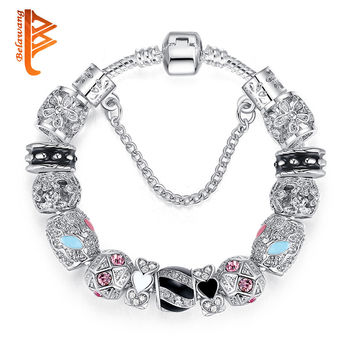 Bracelets For Women Silver Crystal Beads Bracelet Snake Chain Charms Bracelets Fit Original Bracelet Bangle Authentic Jewelry 49