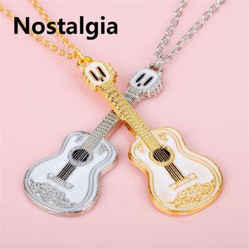 New Lovely Guitar Pendant Necklace Boy Girl Jewelry Unisex Punk Style HIP Rock Two Tone Gold Color Music Guitar For men Jewelry