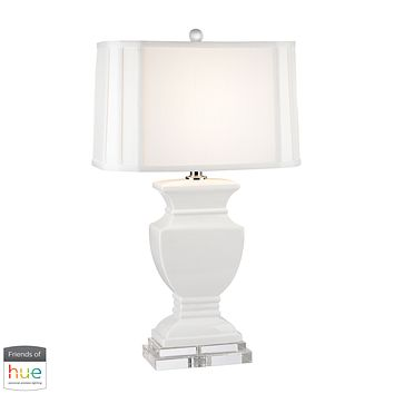 Ceramic Table Lamp in Gloss White and Crystal - with Philips Hue LED Bulb/Bridge