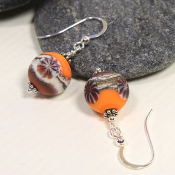 Orange Autum Fall Glass & Sterling Silver Dangle Earrings, Lampwork Jewelry, Handmade, Glass Jewelry, Orange Glass Beads, Orange Earrings