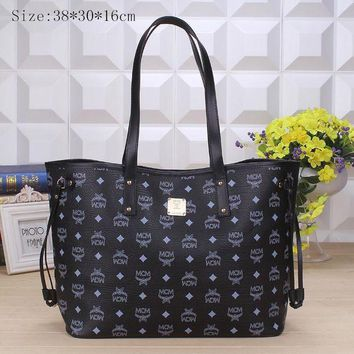 DCCKB62 MCM Women Shopping Bag Leather Satchel Crossbody Handbag Shoulder Bag Black G-YJBD-2H