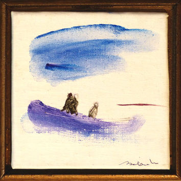 THREE IN A BOAT, miniature oil painting on canvas framed and ready to hang original artwork sea boat fishing gift for mother husband lovers