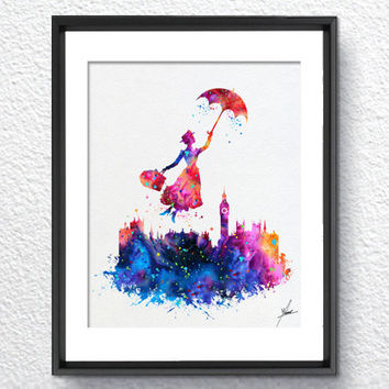 Mary Poppins Watercolor illustrations Art Print Wall Art Poster Giclee Wall Decor Art Home Decor Wall Hanging Item277