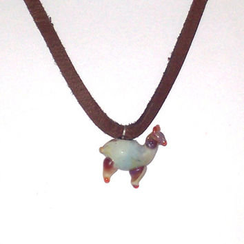 Glass Alpaca Llama Pendant, Sky Blue Hand Blown Charm Necklace on Chain or Leather