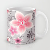 Pink Floral On Grey Mug by ALLY COXON | Society6
