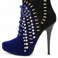 Liliana Ricci-21 Two Tone Studded Booties | MakeMeChic.com