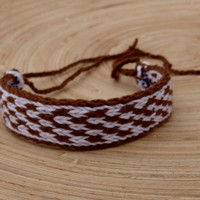 weaving bracelet, table weave woven wrist band, weaved white brown boho bracalet, patterned ethic one braclet, colorful wrist cuff, handmade