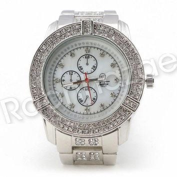 ESBONRC Men Iced Out Bling 14K White Gold Plated Hip Hop Luxury Iced Out Watch F19GS