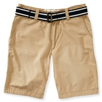 Belted Classic Flat-Front Shorts