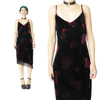 1990s Black Velvet Rose Dress (S/M)