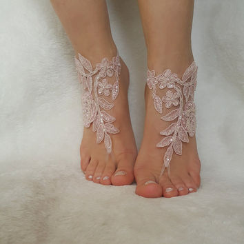 blush pink ivory beaded beach wedding barefoot sandal country wedding shoes  barefoot anklets bridesmaid bridal spectacular barefeet bangle