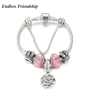3.00 mm Snake Chain Lovely Pink Charms Bracelet for Women Fit Pandora DIY Making Jewelry Accessories As Best Friend Gifts