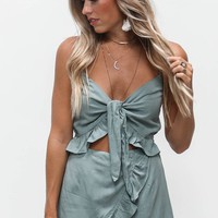 Low Key Sage Knot Front Romper - Amazing Lace