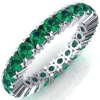 Lilaine Emerald Full Eternity 3mm Round Cut Engagement or Anniversary Ring