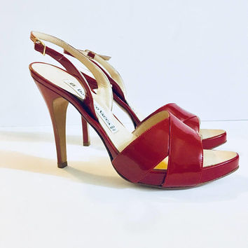 Designer DOMENICO VACCA Woman's Kitten Heel Sling Back In Red Size 40 US 10 Antique Alchemy