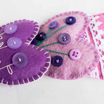 wool felt heart ornaments  with button flowers and lace set of 3 -  Christmas ornament Birthday gift Wedding / Housewarming home decor