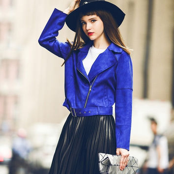 Autumn new arrive outfit  women's outwear short coat sapphire chic faux suede jacket = 1838487620