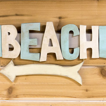 "Beach Sign - 19 1/2"" wood Beach sign - Wood Sign - great for beach house decor"
