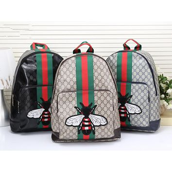 """Gucci"" Unisex Casual Fashion Classic Print Multicolor Stripe Bee Embroidery Backpack Large Capacity Travel Double Shoulder Bag"