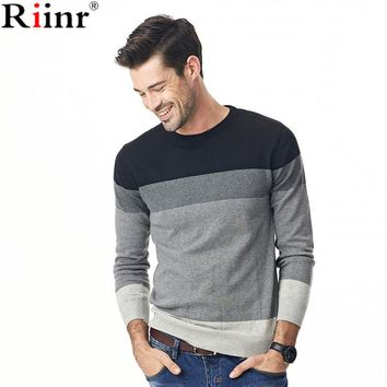 Fashion New Arrival Sweater Men High Quality Autumn&Winter Casual O-Neck 100% Cotton Striped Long Sleeve Pullover Men