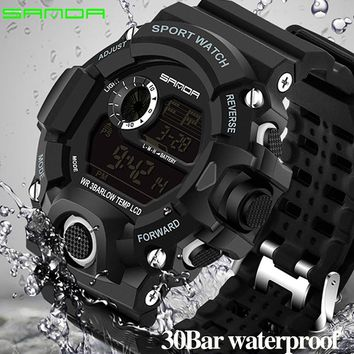 2018 Sanda Digital Wristwatches Men G Style Shock Watch Waterproof Shockproof Top Brand Luxury Date Calendar LED Sports Watches