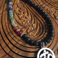 OM Rainbow Chakra Essential Oil Diffuser Necklace