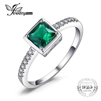 JewelryPalace Square 0.5ct Created Green Emerald Solitaire Ring 925 Sterling Silver Rings for Women Fine Jewelry