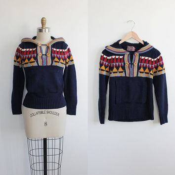 Vintage 70s Navy Navajo Knit Hooded Toggle Sweater | women's xs small