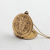 Antique Edwardian Pat'd 1904 Locket Necklace - Vintage Gold Filled Round Floral and Bow Pendant / W&H Co.