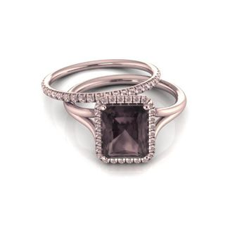 Emerald cut Smoky Quartz Engagement Ring with Champagne Diamonds Halo 14K Rose Gold