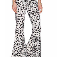 Leopard Print Bell Bottom Skinny Pants