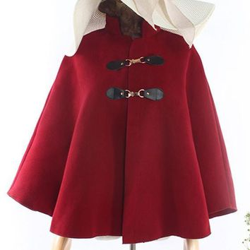 Burgundy Draped Cape Fur Collar Long Sleeve Christmas Thick Coat