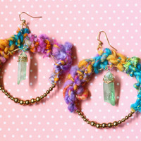 Handspun Yarn Quartz Earrings