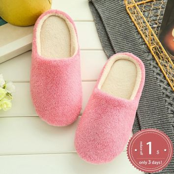 Yu Kube 2018 New Women Fur Home Slippers Soft Bottom Non-Slip Shoes Fur Bedroom Slippers zapatos de mujer Lovers Couples Shoes