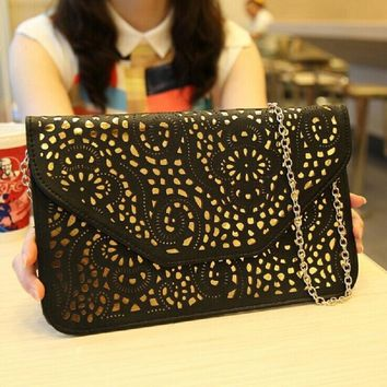 Fashion Hotsale 2016 Vintage Style Women Hollow Out Envelope Clutch Shoulder Bag Cross-body Bag Evening Bag Christmas Sale