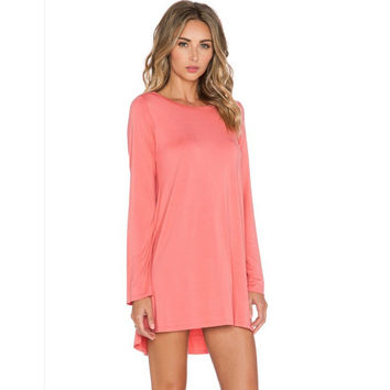 Long Sleeve Dipped Hem Shift Mini Dress