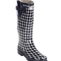 Forever Young: Women's Tall Rubber Plaid Black and White Rain boots