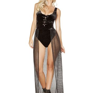 Roma Rave 3585 - 1pc Lace-up Velvet Romper with Attached Sheer Open Front Glitter Skirt