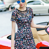 Floral Print Short Sleeve Mini Dress with Lace Accent
